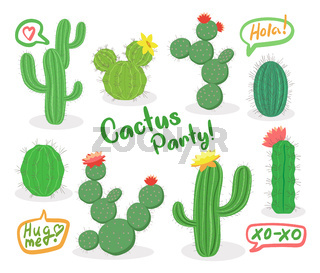 Different green succulent plants with flowers icon set isolated, cactus party, hola, vector illustration.
