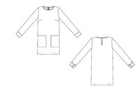 Fashion technical sketch of dress in vector graphic
