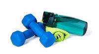 dumbbells and Sports Bottle