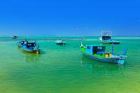 Boats on tropical Maldives island