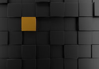 Black cubes with gold background