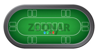 Green poker table with colorful casino chips top view