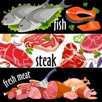 Meat banner set vector. Fresh meat set.