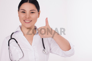 Nurse showing thumbs up.