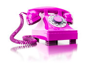 old pink dial-up phone