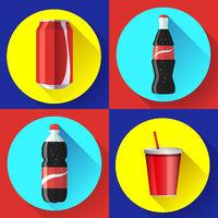 sweet water bottle set flat vector icon set