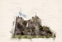 Watercolor Castle Ruin