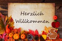 Old Paper With Autumn Decoration, Willkommen Means Welcome