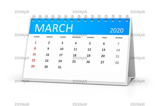 table calendar 2020 march