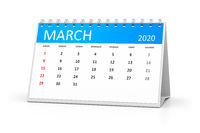 table calendar 2020 march