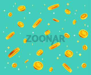 Gold coins money falling vector illustration, flat style dropping coins, isolated on color background.