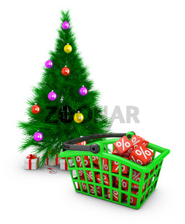 basket  and a Christmas tree