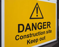 danger construction site keep out sign