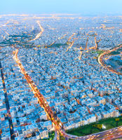 Skyline of Tehran. Aerial view