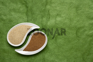 brown and ivory teff grain