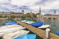 Zurich Switzerland, city skyline at Fraumunster Church and Munster Bridge