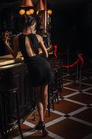 Stylish woman standing near bar counter