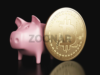 3d piggy bank and Bitcoin. Cryptocurrency concept.