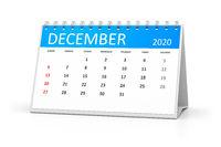 table calendar 2020 december
