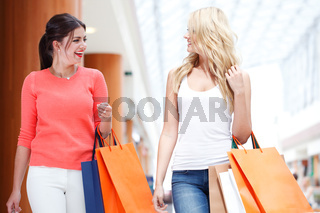 Girls shopping in mall