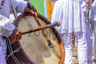 Brazilian ethnic drums in a religious folk party