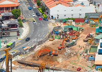 Street construction site in Singapore