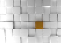 White cubes with a golden one background