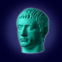 Modern conceptual art poster with ancient statue of bust of Germanicus. Collage of contemporary art.