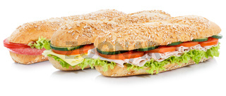 Brötchen belegt mit Schinken Salami und Käse Sandwich Vollkorn Baguettes freigestellt Freisteller