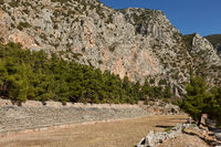 Delphi, Phocis - Greece. Panoramic view of the Stadium of Delphi. It lies on the highest spot of the Archaeological Site of Delphi.