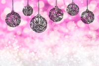 Christmas Tree Ball Ornament, Copy Space, Purple Background