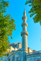 Minaret of The Blue Mosque in Istanbul,
