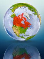 Canada on globe