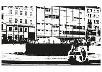 Black and White Drawing of the City Street