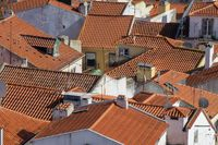 Old Lisbon cityscape with roofs