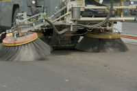 Brushes of the cleaner machine. Cleaning on the road. Clean roads.