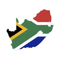 South Africa country silhouette with flag on background, isolated on white
