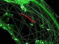 Cuba on green globe