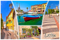 Garda lake town of Lazise tourist postcard with name label