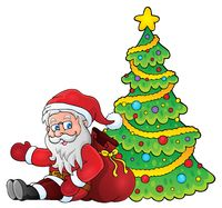 Santa Claus by Christmas tree theme 1