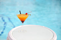 Exotic cocktail on white table
