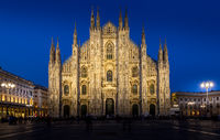 MILAN, ITALY - APRIL 28th, 2018: turists during blue hour taking pictures in Duomo Square , the main landmark of the city.