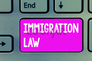 Word writing text Immigration Law. Business concept for Emigration of a citizen shall be lawful in making of travel