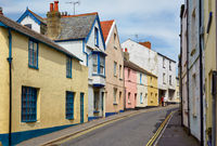 The view of the small street in Lyme Regis. West Dorset. England