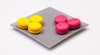 Traditional french colorful macarons on the plate