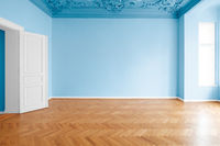 blue colored walls in new painted room , flat after renovation  -