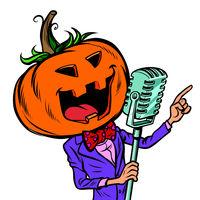 Halloween pumpkin character singer. Isolate on white background