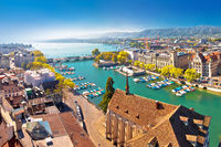 Zurich lake and Limmat river waterfront aerial panoramic view