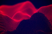 Abstract landscape of Red digital particles or sound waves.