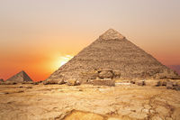 Sunset in the desert and the Pyramid of Khafre, Egypt